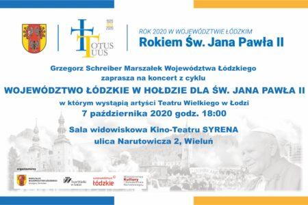 Koncert papieski – nowy termin 7.10.2020
